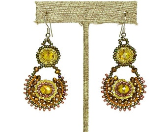 Hand beaded earrings earth bronze brown crystalicious #103