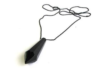 SALE black prism necklace . large glass prism necklace on black chain . black pendulum necklace