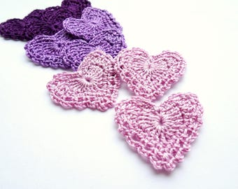 Purple hearts decorations - crochet hearts applique - rustic wedding decorations - purple lace hearts - gift wrapping decorations - set of 9