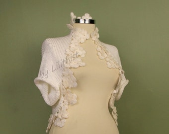 Crochet Shrug, Bridal Bolero Jacket, Wedding Cape, Crochet Bolero, Knit Shrug, Bolero, Shrug, Black, White, Wedding Shrug, Bridal Bolero