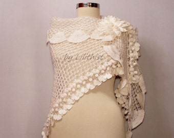 White Bridal Shawl, Wedding Wrap, Crochet Shawl, Shawl Scarf, Wedding Shawl, Bridal Cape, Crochet Lace Shawl, Crochet Wrap, Wedding Cover Up