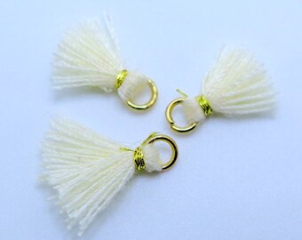 Mini Cotton Jewelry Tassels with Gold Binding and Gold Plated Jump Ring - Ivory - 3 pcs - Approx 10mm - MT1