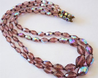 Vintage purple glass bead necklace. 2 row necklace. 2 strand necklace