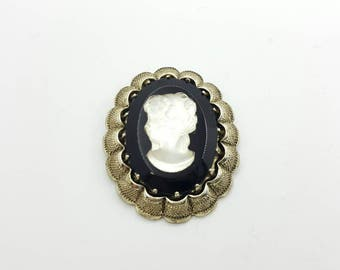 Cameo Brooch Western Germany Black Celluloid Signed Victorian Mourning