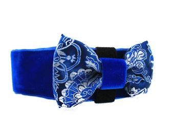 Velvet Martingale Collar, Velvet Dog Collar, Dog Bow Tie, 1.5 Inch Martingale Collar, Blue Dog Collar, Whippet Collar, Greyhound Collar