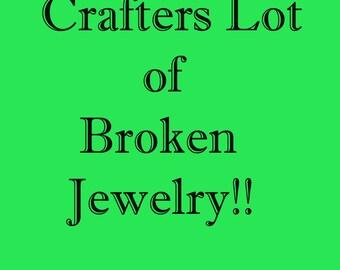 GRAB BAG LOT of Broken & Tangled Vintage Costume Jewelry -