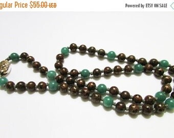 """On Sale Vintage Estate Hand Knotted Gold Toned Filigree Clasp 22"""" inch Chinese Cloisonne with Green Adventurine Stone Accents Necklace"""