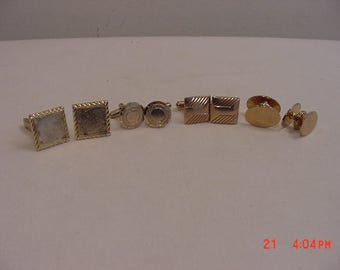 4 Sets Of Vintage Gold Tone Metal Cuff Links  17 - 523