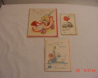 3 Vintage Greeting Cards Christmas New Years & Get Well  17 - 543