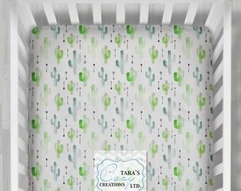 MINKY Cactus Crib Sheet- Designer Minky Boppy Cover - Designer Print Crib Sheet - Green Cactus Sheet - Watercolor Bedding- Change Pad Cover