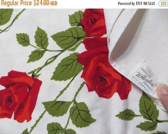 ON SALE Vintage Wilendur Red Roses Tablecloth with Tag