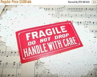 Store Closing SALE Vintage Dennison Gummed Labels-Seals-Fragile-Handle with Care-Ephemera-10 pieces-New Old Stock