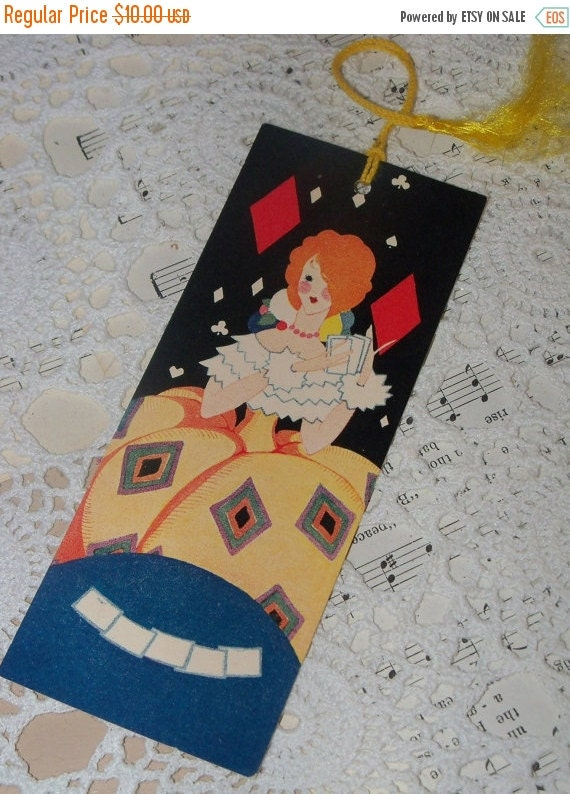ON SALE Antique Art Deco Fancy Tally Card-Red Head Flapper-Tallies-1920s-Volland-Unused