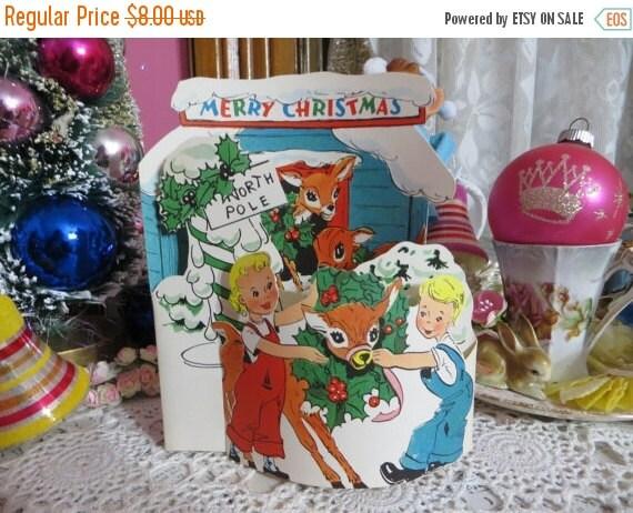 ON SALE Vintage Retro Mid Century Christmas Greeting Card-Cute Deer-Unused-Childrens-Stand-Up-3-D