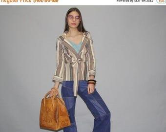 40% Limited time SALE  - Vintage 1970s Striped Hippie Boho Festival Wrap Cardigan Sweater Hooded Jacket Coat  -  1970s Striped Hooded Jacket