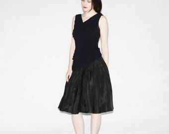 On SALE 40% Off - Vintage 50s Black Mermaid Fishtail Dress - 50s Black Dress - The Naiads  Dress  - 9059