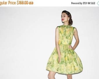 On SALE 40% Off - Vintage 1950s Lime Green Watercolor Party Dress  - Vintage  Party Dress - Vintage Green Dresses  - WD0526