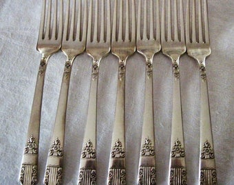 8 Antique Vintage Oneida Wm Rogers Silverplate Dinner Forks Harmony Pattern Circa 1930's