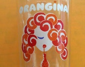 Vintage 1970s Glass Drinking Juice Glass ORANGINA Made In France