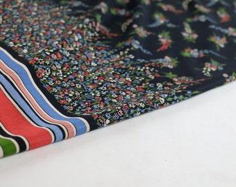 Vintage Fabric / Border Print Fabric 1940s Fabric / Dress Fabric Floral Fabric Stripe Fabric 1950s Fabric