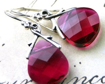 ON SALE Swarovski Briolette Crystal Earrings in Ruby Red - Handmade with Swarovski Crystal and Sterling Silver