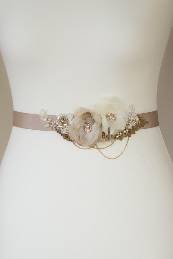 Gold wedding belt floral bridal sash bridal dress sash for Gold belt for wedding dress