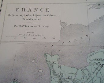 Fantastic Authentic 1881 French Map.n19.Regions,agricoles,Lignes de Culture, Produits du Sol