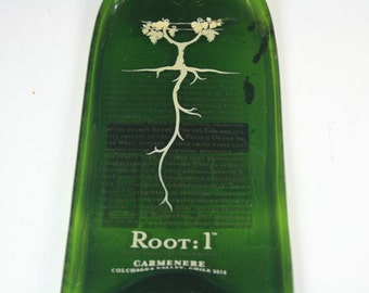 Melted Wine Bottle, Slumped Wine bottle, Slumped,Root:1 Carmenere Melted Wine Bottle Cheese Tray, Gift for Wine Drinker