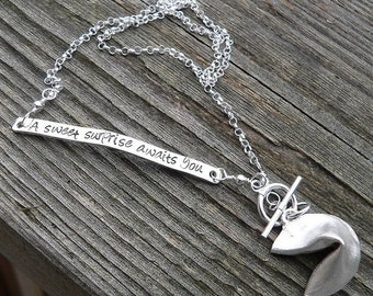 20% OFF - Custom Enscribed Fortune Cookie Necklace