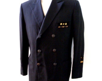 Vintage Black Nautical Men's Blazer with Emblems and Patches - Double Breasted Mens Jacket - Preppy Sport Coat - Size 41 R