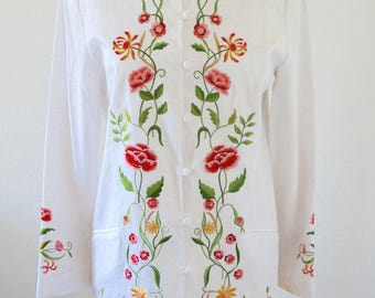 Victor Costa White Embroidered Duster Long Asian Floral Garden Printed Jacket Coat