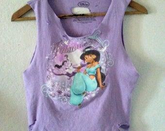 Jasmine TShirt / Crop Top / Half Tee / Aladdin Princess Jasmine / Disney Cartoon / Indie / Grunge / Rocker / Cute / Fairytale / Lavender Tee