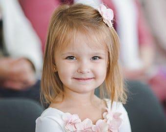leotard top, pink leotard, white leotard, Flower girl top, white leotard with blush flowers, blush clip, flower girl accesories