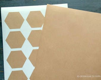 "60 Kraft Large Hexagonal Stickers, 2.5"" x 2.16"" ( 63.5 x 55mm) Hexagons, Kraft Brown, Honeycomb Recycled Stickers, Eco-friendly (5 sheets)"