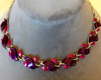 Vintage Thermoset Necklace Purple & Pink Red Mauve Original 1940 Lucite Adjustable Lengths AWESOME