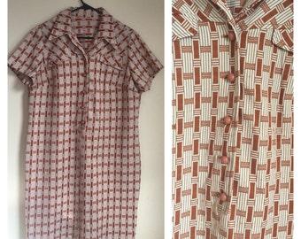 Vintage 1960's Brick Red/Orange/Brown Mod Retro Shift Dress Extra Large XL
