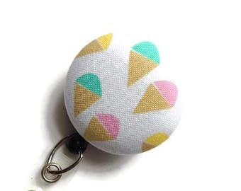Ice Cream Cones Retractable ID Badge Holder/Name Badge Holder/Nurse Badge Reel//Badge Reel/Badge Clip/Badge Pull/White Pink Blue