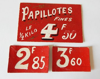 Vintage French franc shop price labels red and white French vintage price tags Collage Work Upcycle Photography Prop Paper Ephemera