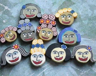 10pcs Woman's Face Polymer Clay Polyclay Bead 24x17mm Multicolored Lady
