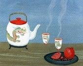 dragon tea print