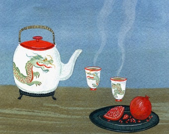 dragon tea print