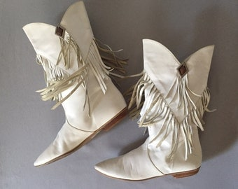 J.G Simone New York fringed boots | 1980s slouch leather boots | 7.5