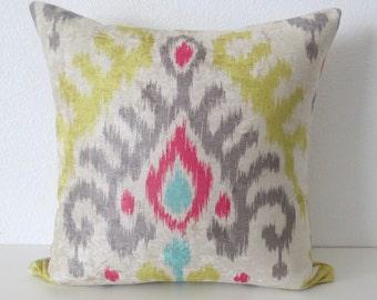 Colorful Ikat Velvet Medallion Pillow Cover