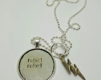 Rebel Rebel - David Bowie charm handstamped