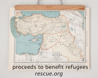 All Proceeds to Charity | 1930s Antique Maps of Syria, Turkey, Iraq, and Palestine | Help Refugees with a Donation to IRC