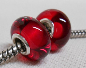 Red Transparent Lampwork Bead Pair Silver Cored Bead European Style Bead