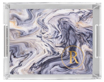 Lucite Serving Tray Personalized custom monogram marble blue gold Insert only