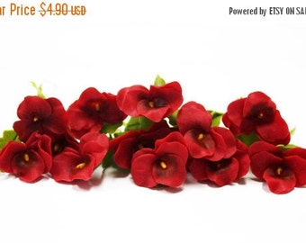 Miniature Polymer Clay Flowers Supplies Brilliant Red Pansy with Leaves 6 stems
