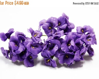 Miniature Polymer Clay Flowers Supplies Violet Pansy with Leaves 6 stems