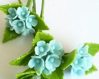 Miniature Polymer Clay Flowers Supplies Blue Hydrangea 4 stems